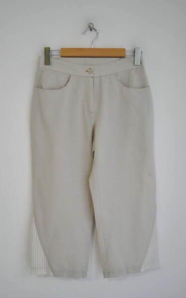 Ленен дамски 7/8 панталон в бежово (второ качество)