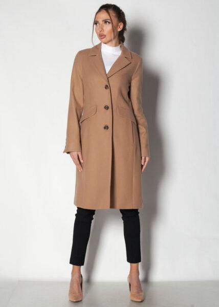 Дамско бежово палто с ревер яка
