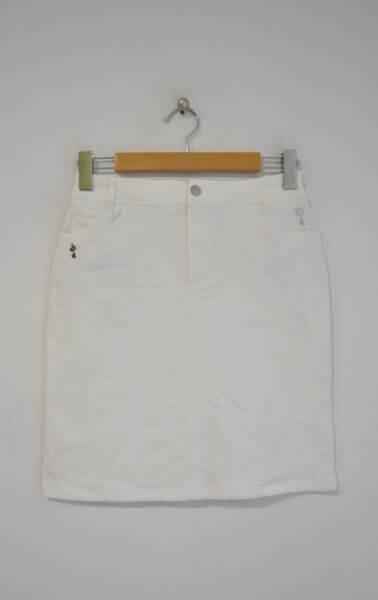 Бяла дамска пола с джоб