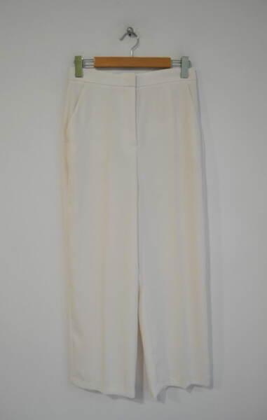 Дамски панталон с ръб и широк крачол - екрю
