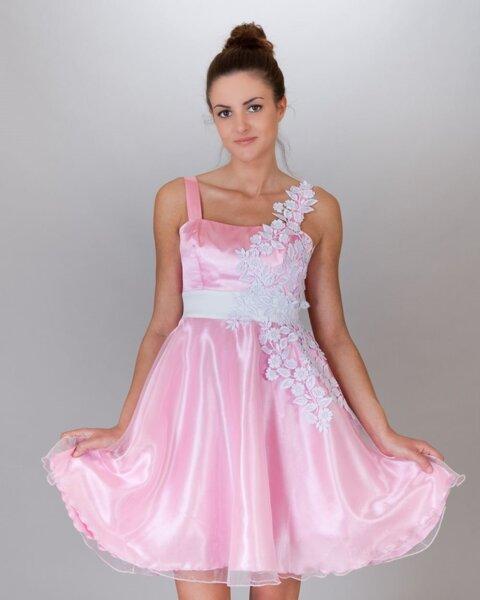 Официална дамска рокла с бяла дантела