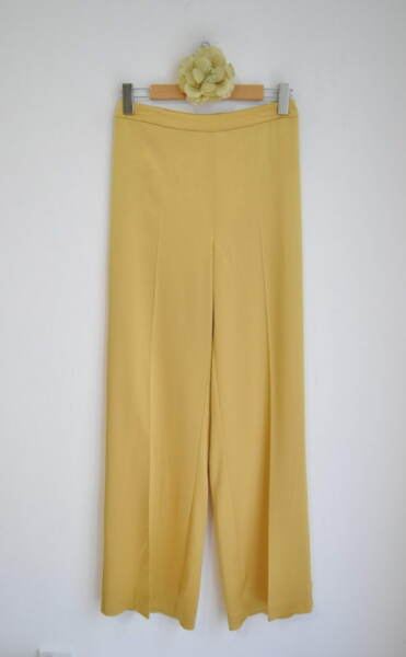 Дамски панталон с широк крачол - горчица