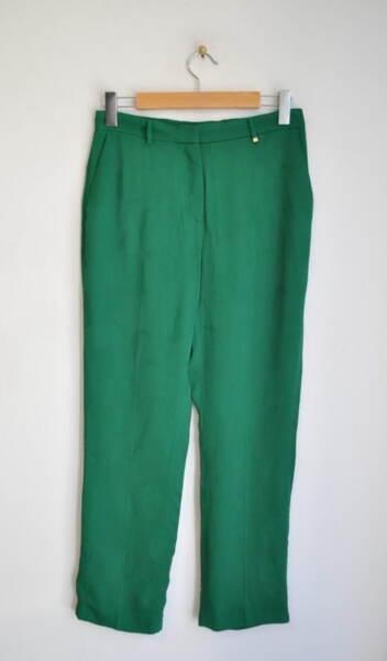 Дамски зелен панталон с принт на пера