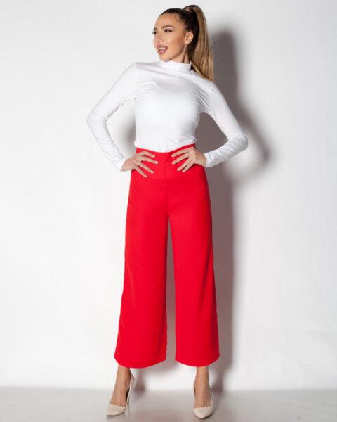 Червен дамски панталон с широк крачол