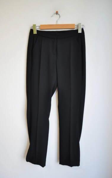 Черен дамски панталон с декоративни филетки