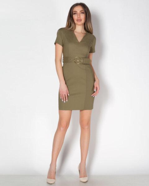 Зелена дамска рокля с V-образно деколте
