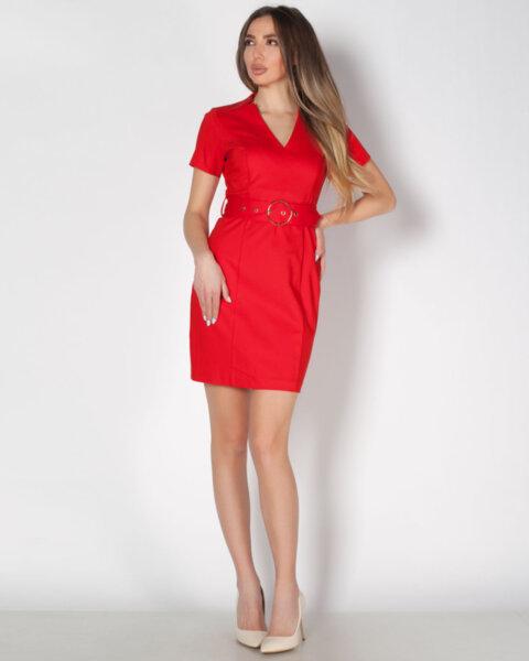 Червена дамска рокля с V-образно деколте