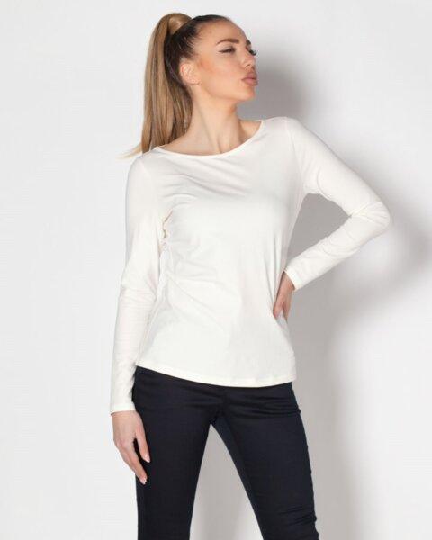 Emilia - basic дамска блуза от пениран памук в екрю (второ качество)