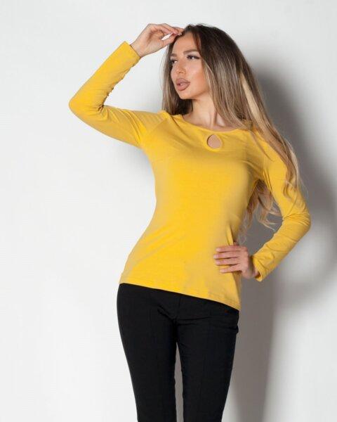 Mesta - дамска basic блуза с дълъг ръкав в горчица (второ качество)