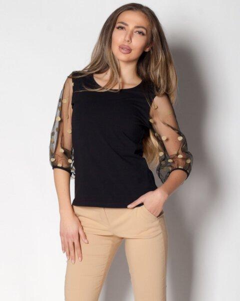 Flambe - кокетна дамска блуза от пениран памук в полувтален силует (второ качество)
