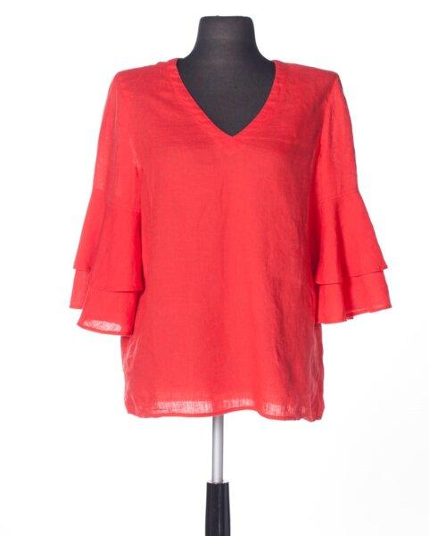 Ленена дамска блуза с ефектни ръкави (второ качество)
