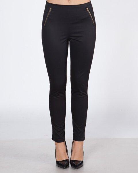 Черен дамски панталон с цип (второ качество)