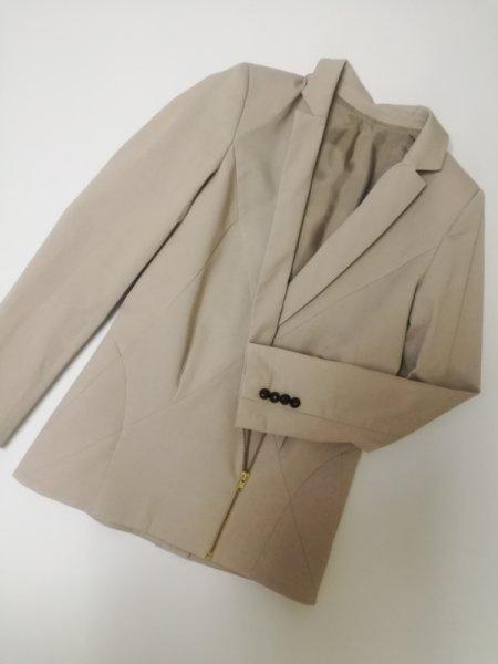 Палто с цип в цвят каки