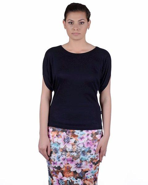 Тъмносиня дамска блуза с ефектни ръкави - Contessa v8