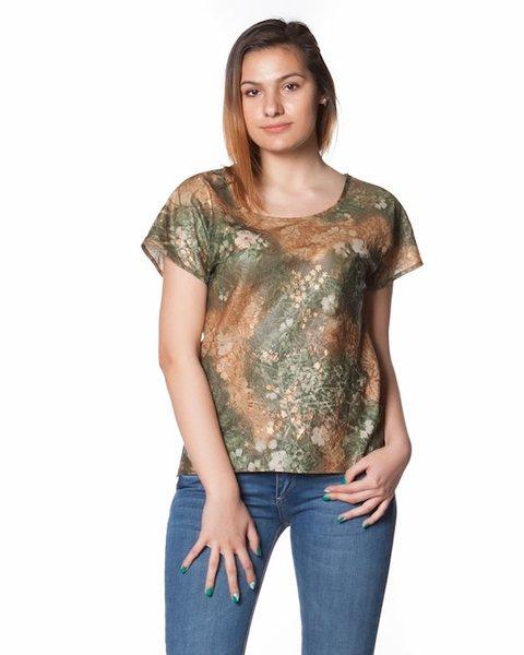 Дамска блуза с къс ръкав - зелена - Galene v8