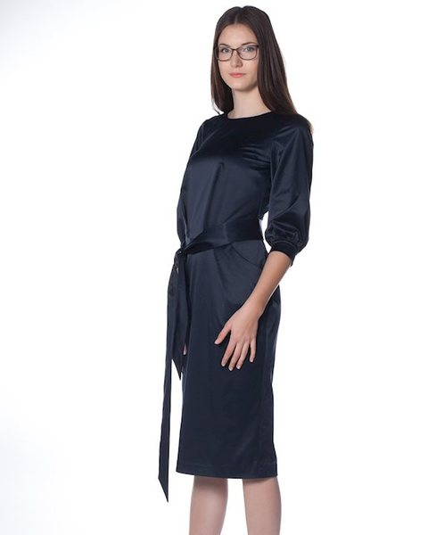 Сатенена рокля с буфан ръкав Rumyana v39