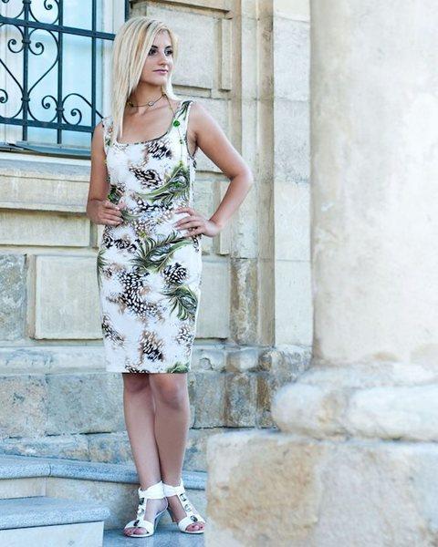 Дамска трикотажна рокля с цепки v73