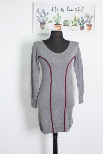 Рокля от плетиво в сиво