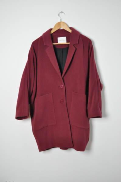 Дамско палто в цвят бордо