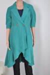 Дамско манто с подвижен колан в цвят тюркоаз