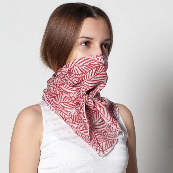 Шал в бяло и червено със защитен филтър