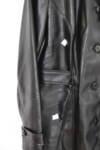 Sukey - дамски кожен тренч от еко кожа в черно (второ качество)