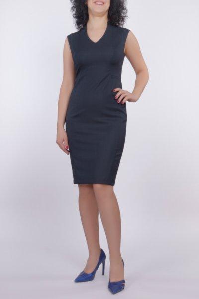 Вталена рокля в бизнес стил от плат меланж