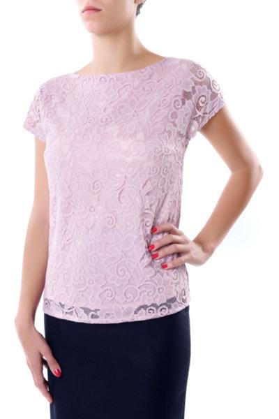 Елегантна блуза от дантела и сатен