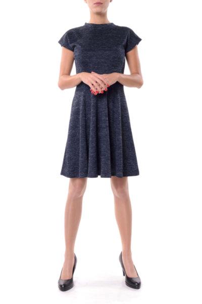 Романтична разкроена рокля с малка поло яка