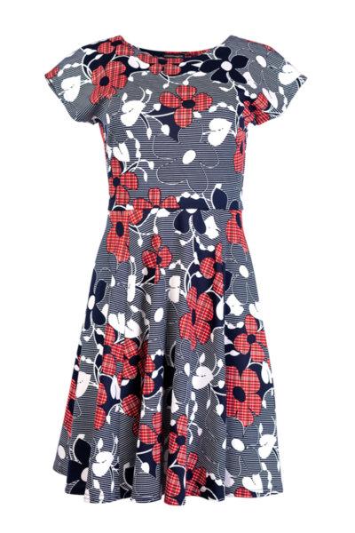 Разкроена рокля с малка поло яка
