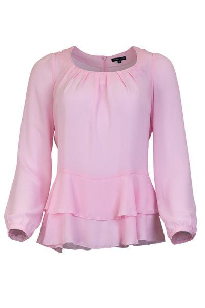 Класическа дамска блуза с волани и буфан ръкав