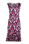 Трикотажна дамска рокля без ръкав, с волан в долната част и шпиц деколте