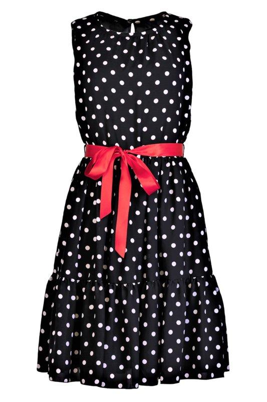Дамска рокля без ръкави, с волани и червена сатенена панделка-Copy