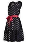 Дамска рокля без ръкави, с волани и червена сатенена панделка
