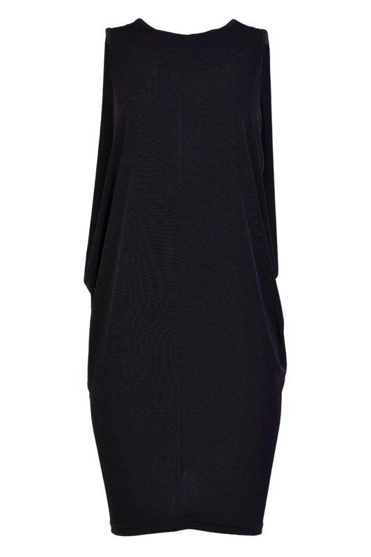 Трикотажна рокля със свобден силует и цепка в гърба-Copy