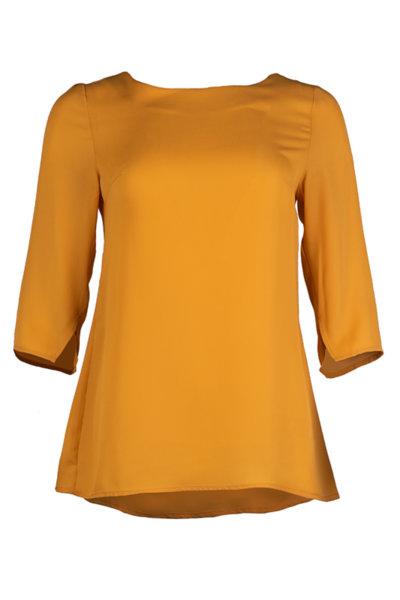 Класическа дамска блуза от креп със 7/8-ми ръкави с цепки