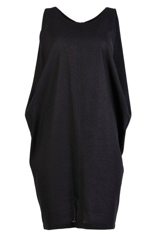 Дамска рокля от лен със свободен силует и цип на гърба