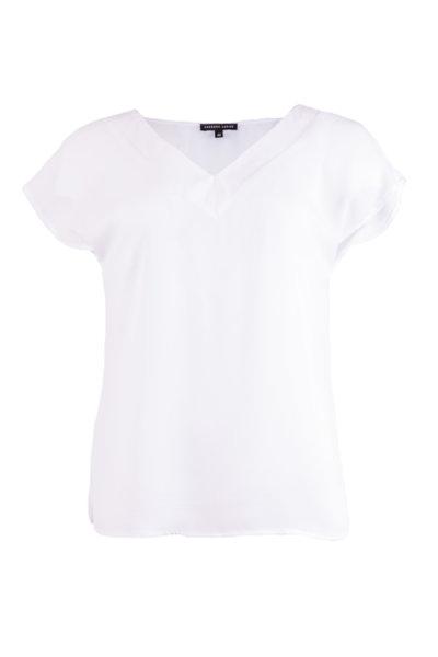 Дамска блуза с къс ръкав и шпиц деколте