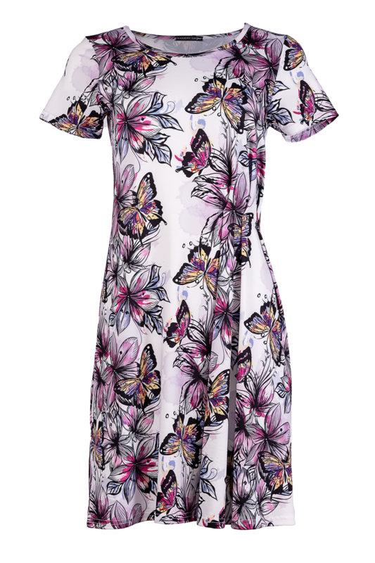 Трикотажна рокля с къс ръкав и чупки в предната част