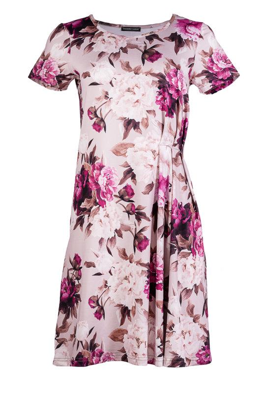 Трикотажна рокля с къс ръкав и чупки в предната част-Copy
