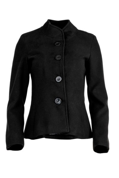 Късо дамско палто с декоративен колан на гърба