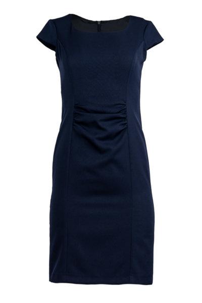 Дамска рокля с къс ръкав и набор на талията