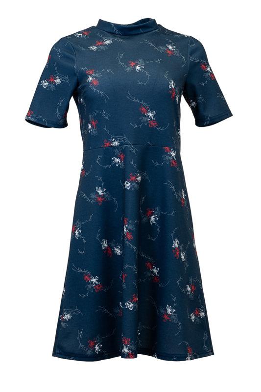 Дамска рокля с разкроена долна част и къс ръкав-Copy