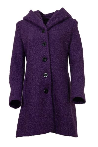 Вталено дамско палто от букле с качулка
