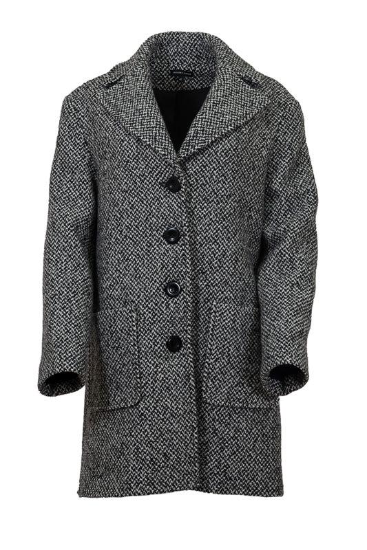 Дамско палто със свободен силует, паднало рамо и външни джобове