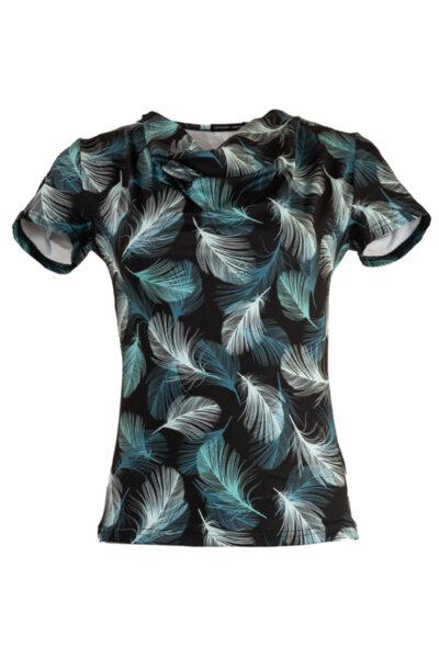 Трикотажна дамска блуза с къс ръкав и гръцко деколте