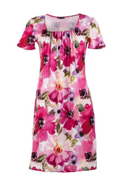 Дамска рокля с къс ръкав и нервюри на деколтето