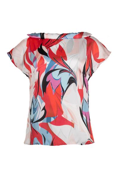 Дамска блуза с малка яка от сатениран шифон
