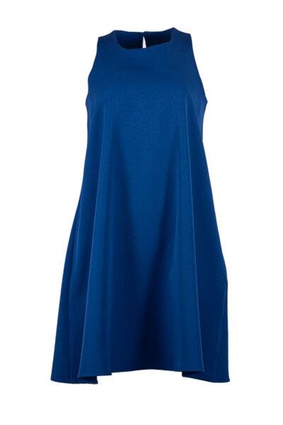 Свободна дамска рокля с презрамки и клоширан силует