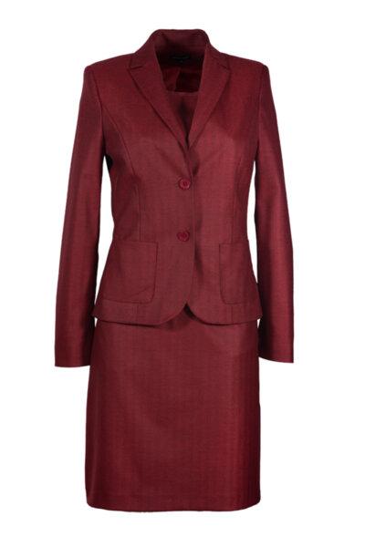Костюм от рокля с джобове и вталено сако